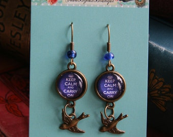 Keep Calm & Carry on - 1940's inspired Vintage earrings with Swallows