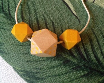 Hand Painted Wooden Geometric Bead Necklace Yellow/Yellow Dots