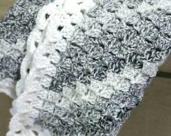 Crochet blanket, crochet baby blanket, crocheted pram blanket, lap blanket, throw. Handmade crochet In grey and white.
