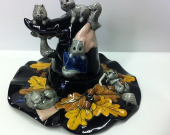 Large Six Squirrels on Witch Hat Ceramic Music Box, Pottery Witch hat,