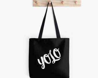 Yolo Typography College Tote Bag. Canvas Tote Bag. Fabric Market Bag.