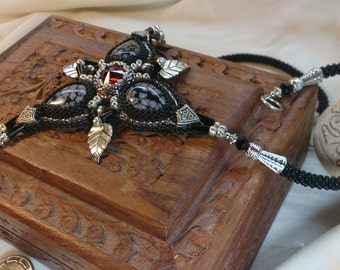 Obsidian Gothic Embroidered Beaded Necklace, Black beaded pendant, Handmade, OOAK, Eye of the Dragon