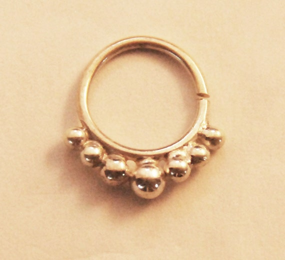 silver septum ring for pierced nose piercing sterling 925