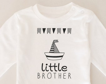 Coming Home Outfit, White Long Sleeve Onesie, Little Brother Onesie, Sailor Onesie, Unique Funny Boy  Siblings Onesie, Hmade Onesie, Hanmade