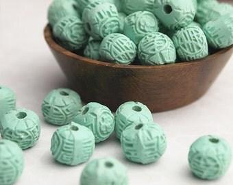 8 Cinnabar Beads Turquoise Round Size 7 x 9mm