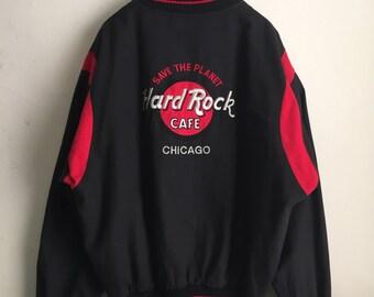 Vintage 1990s Hard Rock Cafe Chicago Embroidered Bomber Baseball Jacket