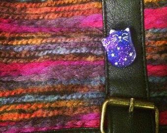 Galaxy Themed Cat Pin | Waving Maneki Neko Good Luck Beckoning Cat Charm | Lapel Pin, Tie Tac, Stick Pin, Animal Accessory
