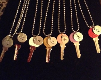 key necklace , personalized with 1 initial
