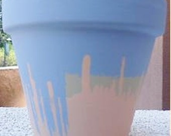 Hand-Painted Pottery//Hand-Painted Sky Blue, Peach, and Tan Terracotta Pot//Hand-Painted Flower Pot//Peach Flower Pot