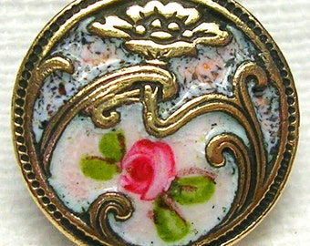 Charming Antique Champleve French Enamel Button ~ Art Nouveau ~ Speckled Enamel ~ Gilt Brass ~ Very Beautiful Piece!