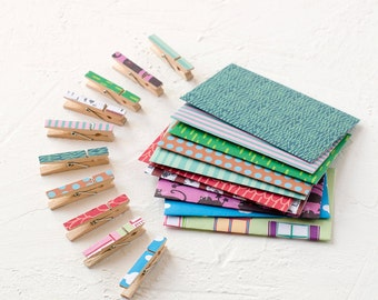 10 Mini Paper Covered Clothespins-Decorative Clothespins-Office-Gift Enclosure-Peg-Clip-Pattern-Colorful-PolKa Dot-Set