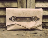 Leatherwork by Anne Meiborg - Brown Purple Leather Clutch with Antique lock