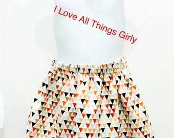 Triangle Toddler Skirt Metallic Gold/Coral with matching bow Triangle/Tribe/ Bow