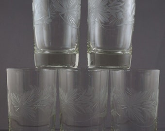 Vintage Strawberry Blossom Pattern Wheel Cut Glass Juice Glasses