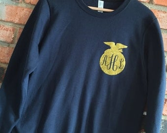 FFA Glitter Monogram Sweatshirt or Hoodie - With SHOW ANIMAL on back