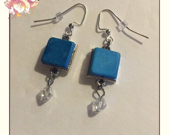 Square Silver Blue Turquoise Howlite Earring With Dangling Bead