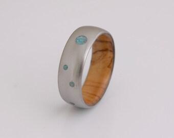 turquoise wedding band wood ring men wedding band olive turquoise ring wood wedding band
