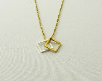 Gold and Silver Double Square Necklace / Squares Necklace / Tiny Gold and Silver Necklaces