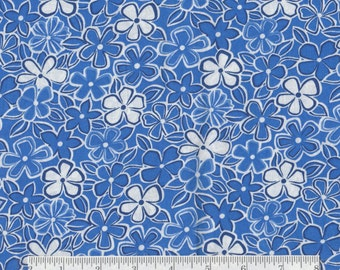 Blue and White Flowers - 1 yd - Camelot -  Blue White