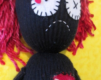 Black and Red Zombie Girl Sock Doll (Gerrrrret)