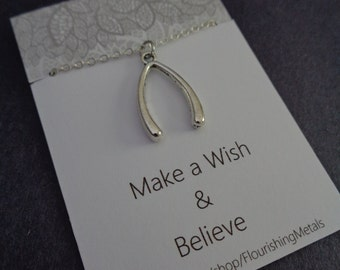 Wishbone Necklace, Wish necklace, Believe necklace,Inspirational Jewelry, positive quotes cards,best friend gift, friendship