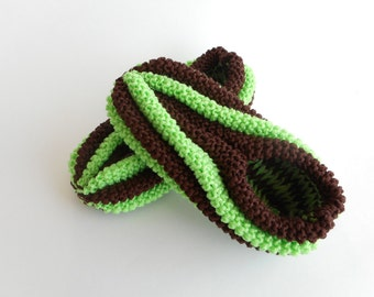 Slippers Phentex man and woman, brown chocolate and lime green, ready to ship, ready to ship