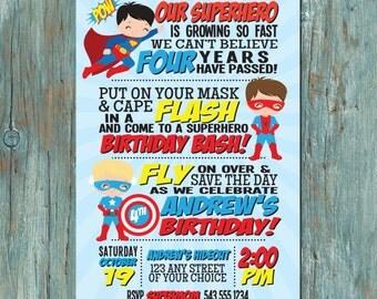 Superhero Birthday Party Invitation for Boy or Girl