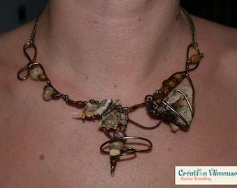 Wood bark necklace, bronze wire