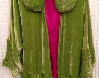1920s Coat / Luxurious Lime Green/Hot Pink Silk Velvet Opera Coat / Flapper  Cloak / Cocoon Coat