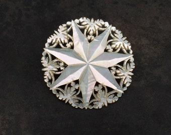 Vintage carved mother of pearl brooch from Jerusalem