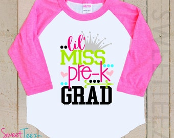 Pre-K Shirt Hip Arrow Shirt Is Pre-k Graduation Girl Pink Kids Raglan Shirt School