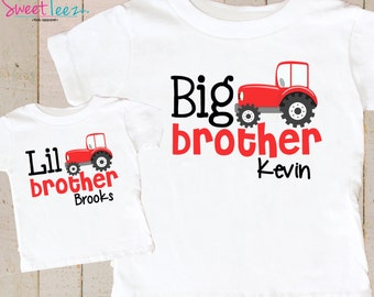 Big Brother Little Brother Shirt Set Red Tractor Sibling Personalized Big Brother Shirts bodysuit SET Farm Boys Shirt Set