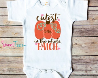 Cutest Pumpkin Patch Shirt Girl Pumpkin Patch Baby Bodysuit Personalized with Name