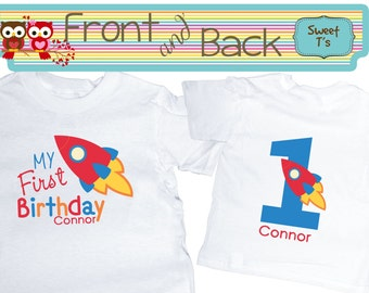 Space Birthday Shirt Rocket Boy Shirt Shirt Front and Back  Personalized Age Shirt Front and Back