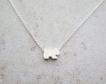Dainty Silver Dog necklace/ Tiny brushed dog necklace / Sterling silver dog necklace