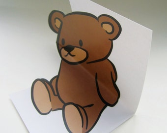 Anamorphic 3D illusion greeting card Teddy Bear