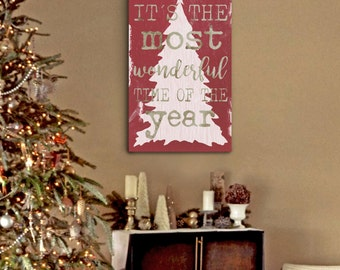 Shabby Chic Christmas, Rustic Christmas Decor, It's The Most Wonderful Time of the Year, Christmas, Christmas Decor,  Christmas Gift