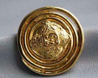 Vintage Brooch YSL. YSL Jewellery. Yves Saint Laurent vintage. Gold tone brooch. Pin brooch. Round abstract brooch.