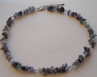 Green Purple and White Chip Gemstone Necklace