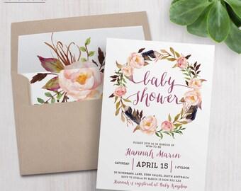 Printable Floral Baby Shower Invitation / Boho Tribal Invitation / Wedding / Engagement / Bridal Shower / Birthday / Party / Blush Pink