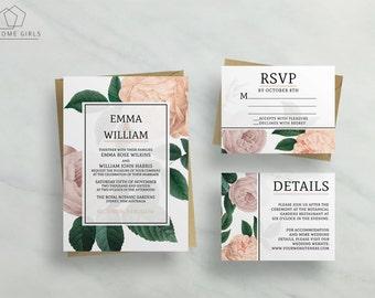 Wedding Invitation Suite Vintage Flowers / Floral / Save the Date / RSVP/ Details / Custom / Invitation Set / Scarlett