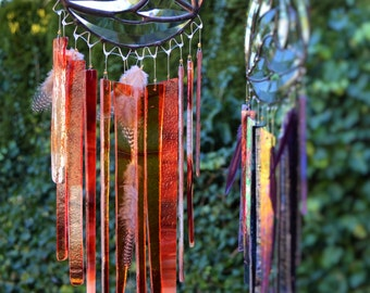 Fire Stained Glass Windchime (Reds/Clears)