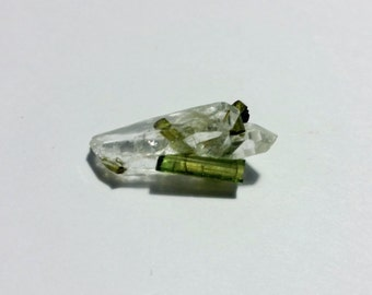 Green Tourmaline in Rock Crystal Quartz