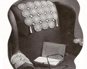 1950s Easy Crochet Pattern Motif for Chair Back & Matching Armrests w/ Tassles