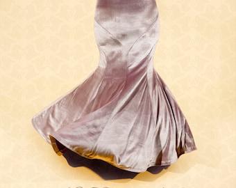 Mermaid Skirt, White-Rose Iridescent Velvet, YOUR SIZE, bellydance tribal fusion, vintage style, 1930s Hollywood glamour