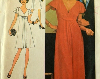 Uncut 1970s Simplicity Vintage Sewing Pattern 7011, Size 12; Misses' Dress Two Lengths