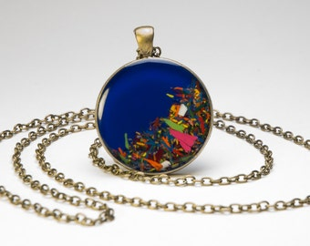 """Pendant blue """"Chromatic"""" of chips of pencil"""