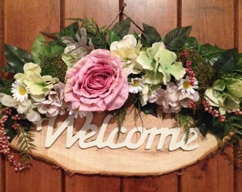 welcome sign decorated with flowers, door decor, front door wreath, door wreath, wreath, door swag-indoor wreath-outdoor wreath-spring decor