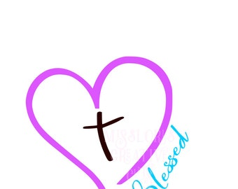 Heart Cross Blessed SVG Cut file  Cricut explore file  decal wood signsscrapbook vinyl decal wood sign cricut cameo Commercial use