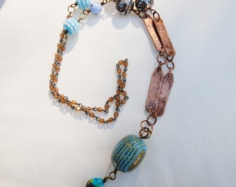 Copper under the blue sky!  28in handmade boho necklace Copper and beads